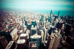 Chicago Skyline Aerial View Royalty Free Stock Photography