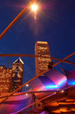 The Chicago Skyline as Seen Through the Arches of the Pritzger Theater Royalty Free Stock Photos