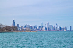 Chicago skyline as seen from south side lakeshore of Lake Michigan on a frigid winter day. Chicago skyline as seen from south side lakeshore of brilliant aqua stock images