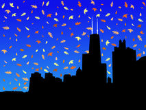 Chicago skyline in autumn Stock Photos