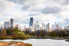 Chicago skyline. Chicago autumn view from Lincoln Park Neighborhood located at the Lincoln Park ZOO. Fall photo. Another great place to view and photography Royalty Free Stock Image