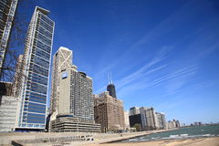Chicago Skyline and Beach - W Hotel. Hancock Tower and other buildings of Chicago near Lake Michigan, including a W Hotel Royalty Free Stock Photography