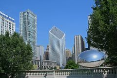 Chicago skyline with bean sculpture Stock Photo