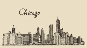 Chicago skyline big city engraving vector drawn Stock Photography