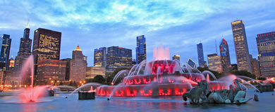 Chicago skyline and Buckingham Fountain at night. USA Royalty Free Stock Photos