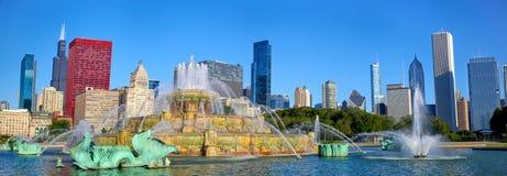 Chicago skyline and Buckingham Fountain. Buckingham Fountain panorama in Grant Park, Chicago, IL, US Stock Image