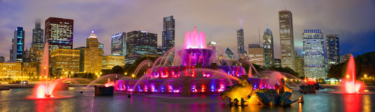 Chicago skyline and Buckingham Fountain Stock Image