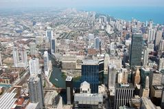 Chicago Skyline and Buildings. Daytime Aerial shot of Chicago Buildings from the Sears Tower Stock Photography