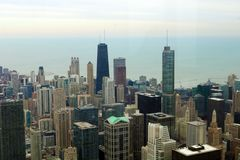 Chicago skyline buildings and lake Michigan view from sky. Chicago Illinois downtown view royalty free stock photos