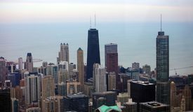 Chicago skyline buildings and lake Michigan view from sky. Chicago Illinois downtown view stock photo