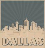 Dallas Skyline Card Art Deco Style. Chicago Skyline Card Art Deco Style Vintage Retro Cowboys Texas TX Dalts vector illustration