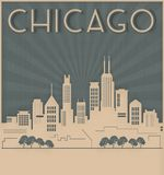 Chicago Skyline Card Art Deco Style. Vintage Retro windy city second city IL Antique old royalty free illustration