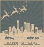 Chicago Skyline Christmas Card Art Deco Style. Vintage Retro Santas Reindeer Stars vector illustration
