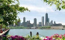 Skyline Cityscape Chicago Illinois USA. Chicago skyline from Navy Pier on Lake Michigan stock image