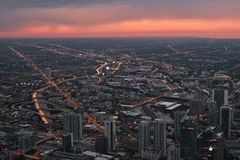 Chicago skyline, cityscape from above. Taken from Skydeck Willis Tower during sunset, dusk. USA, August 25, 2017. Chicago skyline, cityscape during sunset Royalty Free Stock Photography