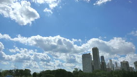 Chicago Skyline with Clouds Crossing the Sky