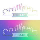 Chicago skyline. Colorful linear style. Stock Image