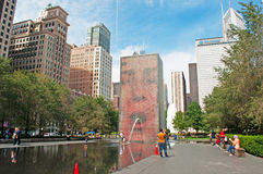 Chicago: skyline and Crown Fountain by Jaume Plensa in Millennium Park on September 22, 2014. Chicago, Illinois, United States of America, Usa royalty free stock photos