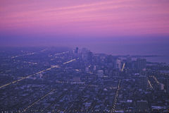 The Chicago Skyline at Dawn, Chicago, Illinois Stock Image