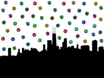 Chicago skyline with dollar symbols. Chicago skyline with colourful dollar symbols illustration Royalty Free Stock Photo