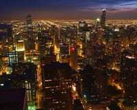 Chicago skyline at down. Chicago skyline viewed from John Hancock Center Royalty Free Stock Image