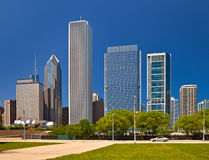 Chicago skyline of downtown buildings Royalty Free Stock Images