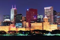 Chicago skyline at dusk Stock Photography