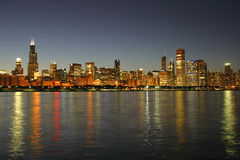 Chicago Skyline at Dusk Stock Image