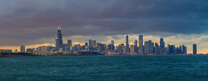 Chicago Skyline at dusk Royalty Free Stock Photo