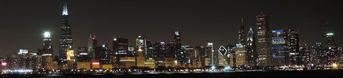 Chicago Skyline at Dusk panoramic Royalty Free Stock Image