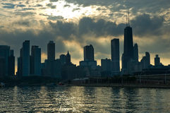 Chicago skyline in the evening seen from Navy Pier Royalty Free Stock Images