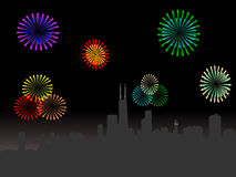 Chicago Skyline with fireworks. Chicago Skyline at night with fireworks illustration Stock Photo