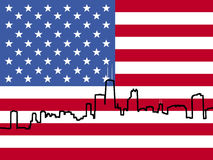Chicago Skyline with flag Royalty Free Stock Images