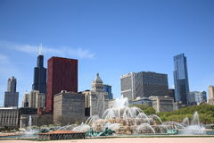 Chicago Skyline and Fountain Royalty Free Stock Images