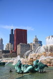 Chicago Skyline and Fountain Stock Images