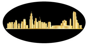 Chicago skyline gold Royalty Free Stock Images