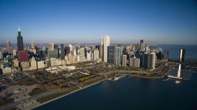 Chicago Skyline Grant Park. Chicago Lake Shore Drive, Navy Pier, Grant Park, water fountain, skyline, aerial Stock Photos