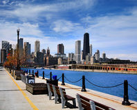 Chicago Skyline. Half Of The Chicago Skyline As Seen From The Parking Garage Side Of Navy Pier On A Beautiful Day In Chicago Illinois, USA royalty free stock photo