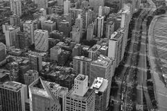 Chicago Skyline III. Black and white photo of Chicago skyline as seen from the Hancock Tower stock photo