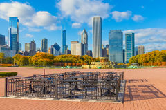 Chicago skyline, Ill from Grant Park in Autumn(P) Royalty Free Stock Photography