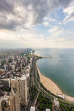 Chicago skyline and lake Michigan from above Stock Images
