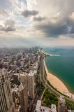 Chicago skyline and lake Michigan from above Royalty Free Stock Images