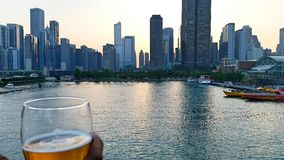 Chicago skyline lake view perspective Royalty Free Stock Photography