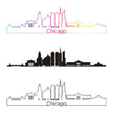 Chicago skyline linear style with rainbow in editable vector fil Stock Image
