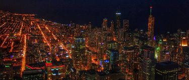 Chicago Skyline. Looking north over the Chicago skyline as seen from the Skydeck of Willis Tower (formerly Sears Tower) in Chicago, Illinois Stock Photos
