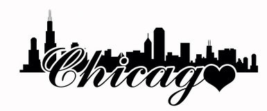 Chicago skyline -Love chicago. Chicago skyline vector in black with heart Royalty Free Stock Images