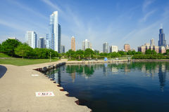 Chicago skyline. In the morning. No brand names or copyright objects stock photo