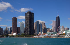 Chicago skyline with Navy Pier royalty free stock images