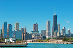 Chicago: skyline from Navy Pier with the John Hancock Center on September 22, 2014 Stock Photos