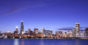 Chicago skyline at night Stock Photography